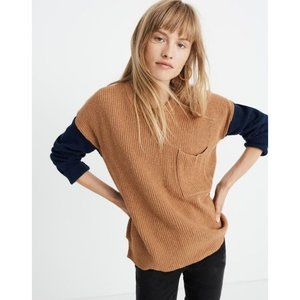 Madewell BNWT crew neck colorblock sweater pocket